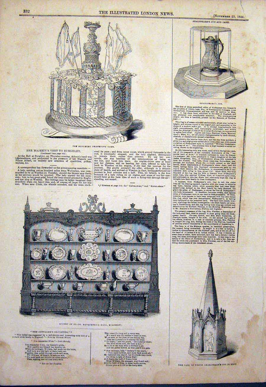 Print Burghley Hall Shakespeare Jug 1844 32Maa1 Old Original