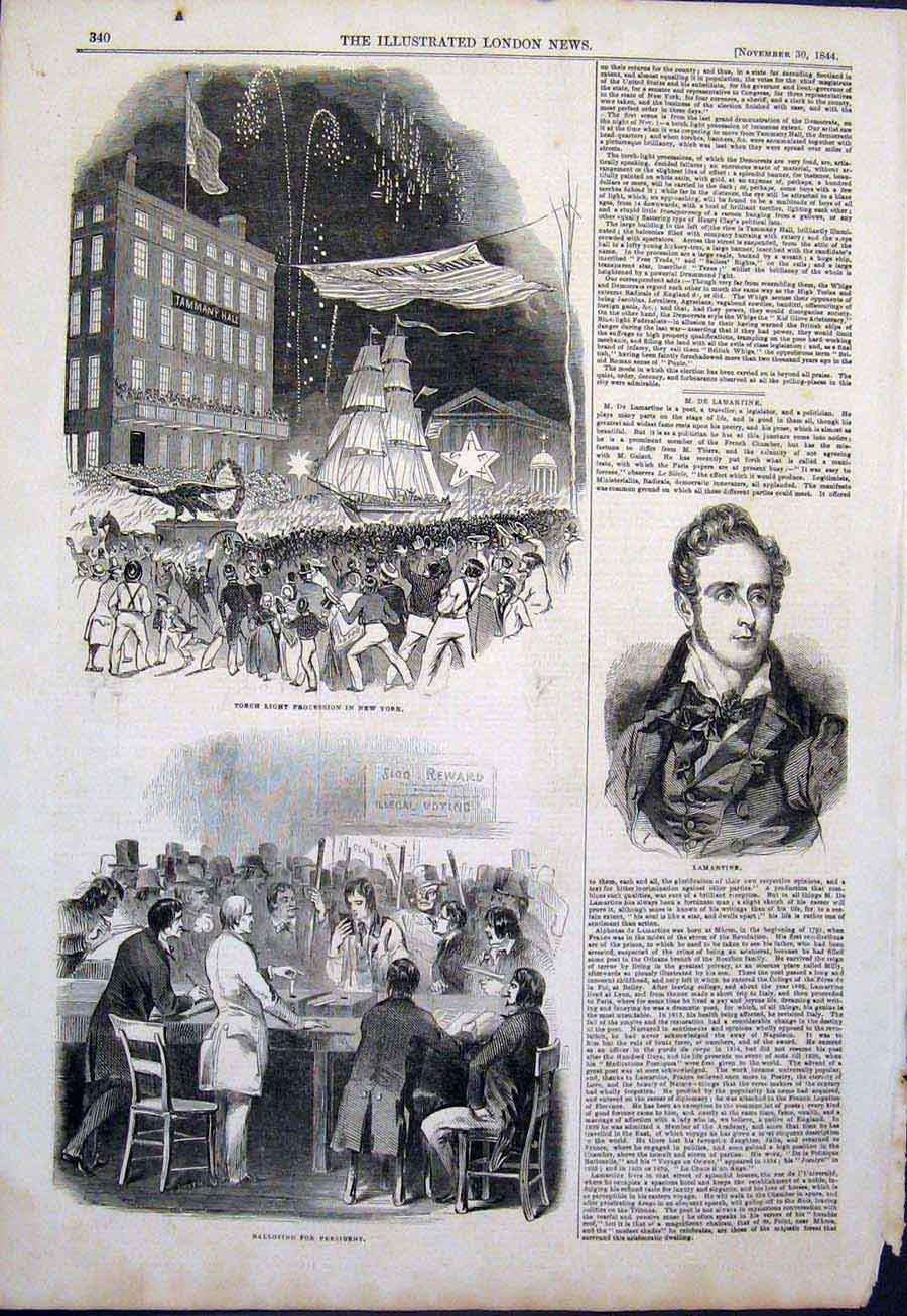 Print New York Torch Light Procession Lamartine Election 1844 40Maa1 Old Original