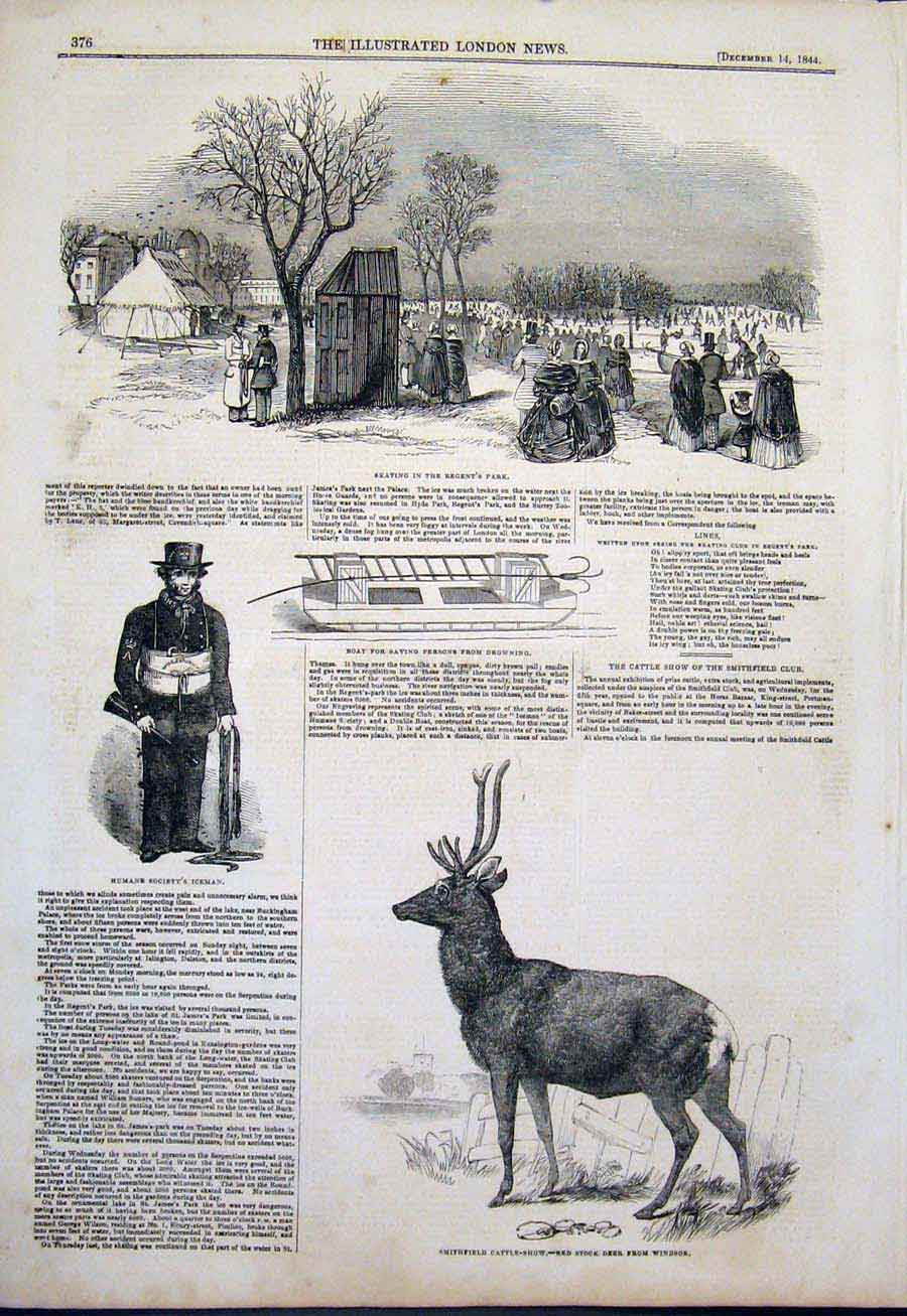 Print Regent'S Park Skating Iceman Red Stock Deer Windsor 76Maa1 Old Original