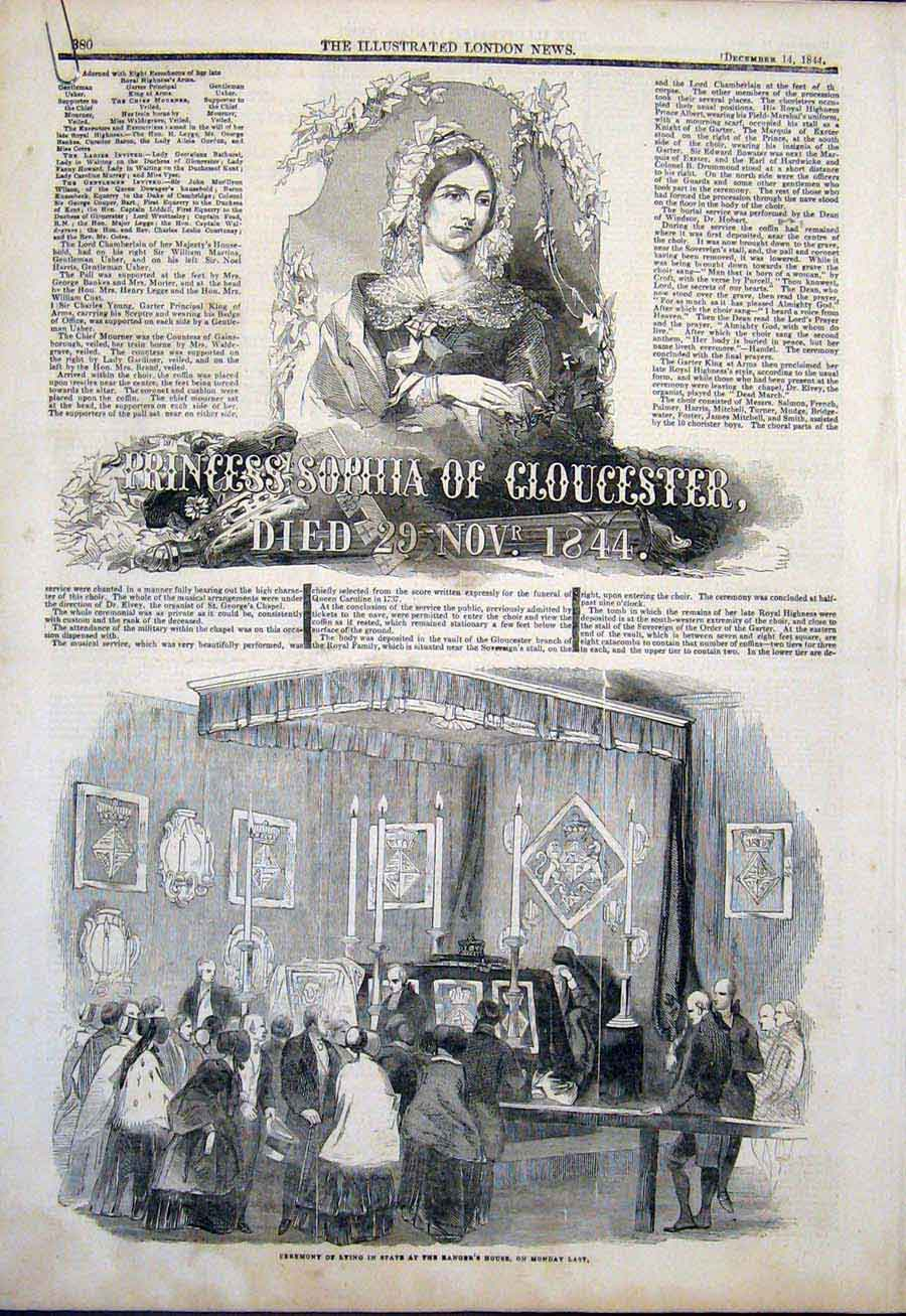 Print Princess Sophia Gloucester Funeral Procession Windsor 80Amaa1 Old Original
