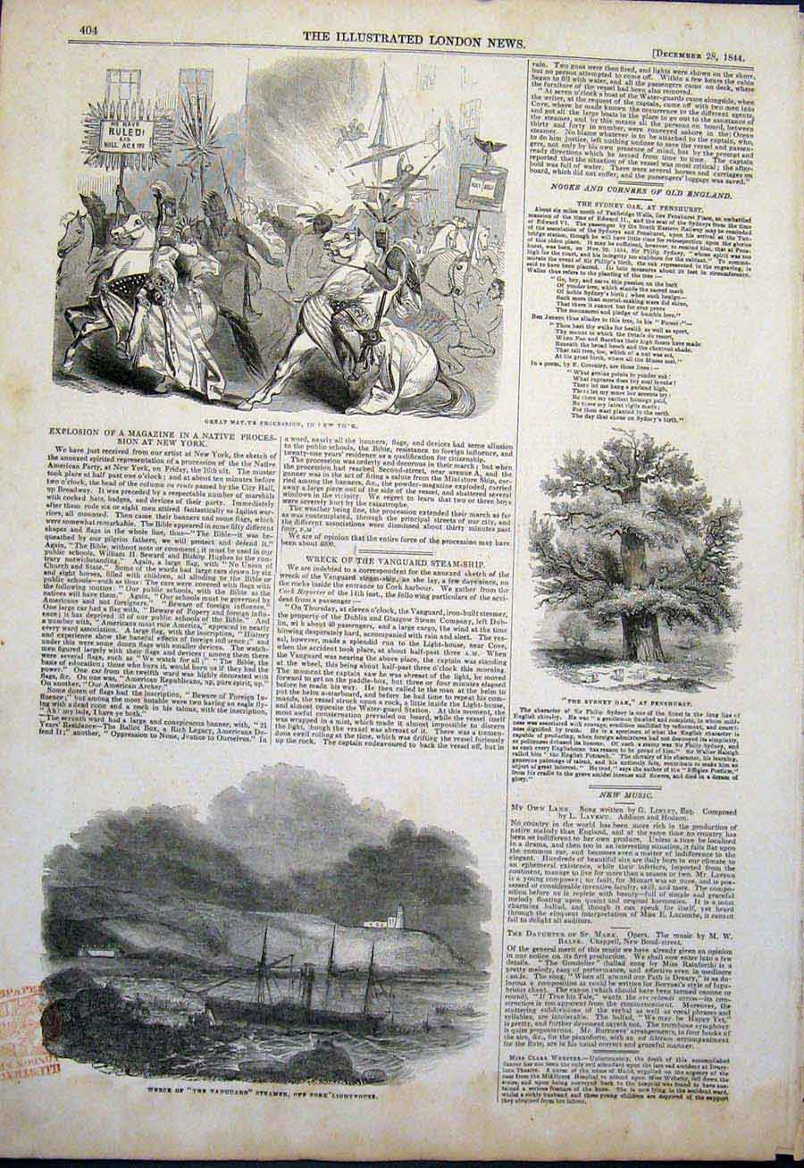 Print New York Vanguard Steamer Lighthouse Oak Penshurst 1844 04Maa1 Old Original