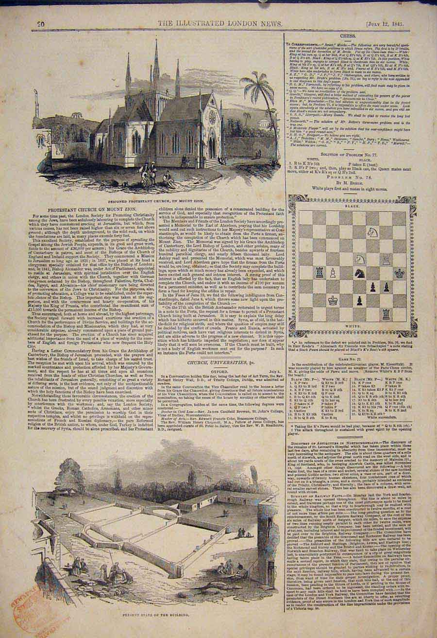 Print Mount Zion Church Jerusalem Building Chess 1845 20Maa1 Old Original