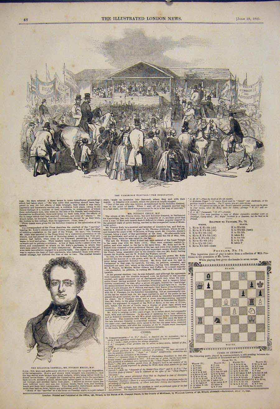 Print Cambridge Election Nomination Portrait Kelly Chess 1845 48Maa1 Old Original