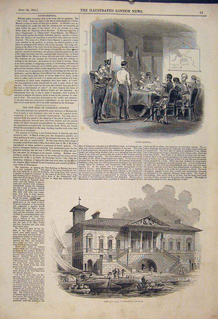 Print Court Martial Windsor Military Hall Commerce Ipswich 61Maa1 Old Original
