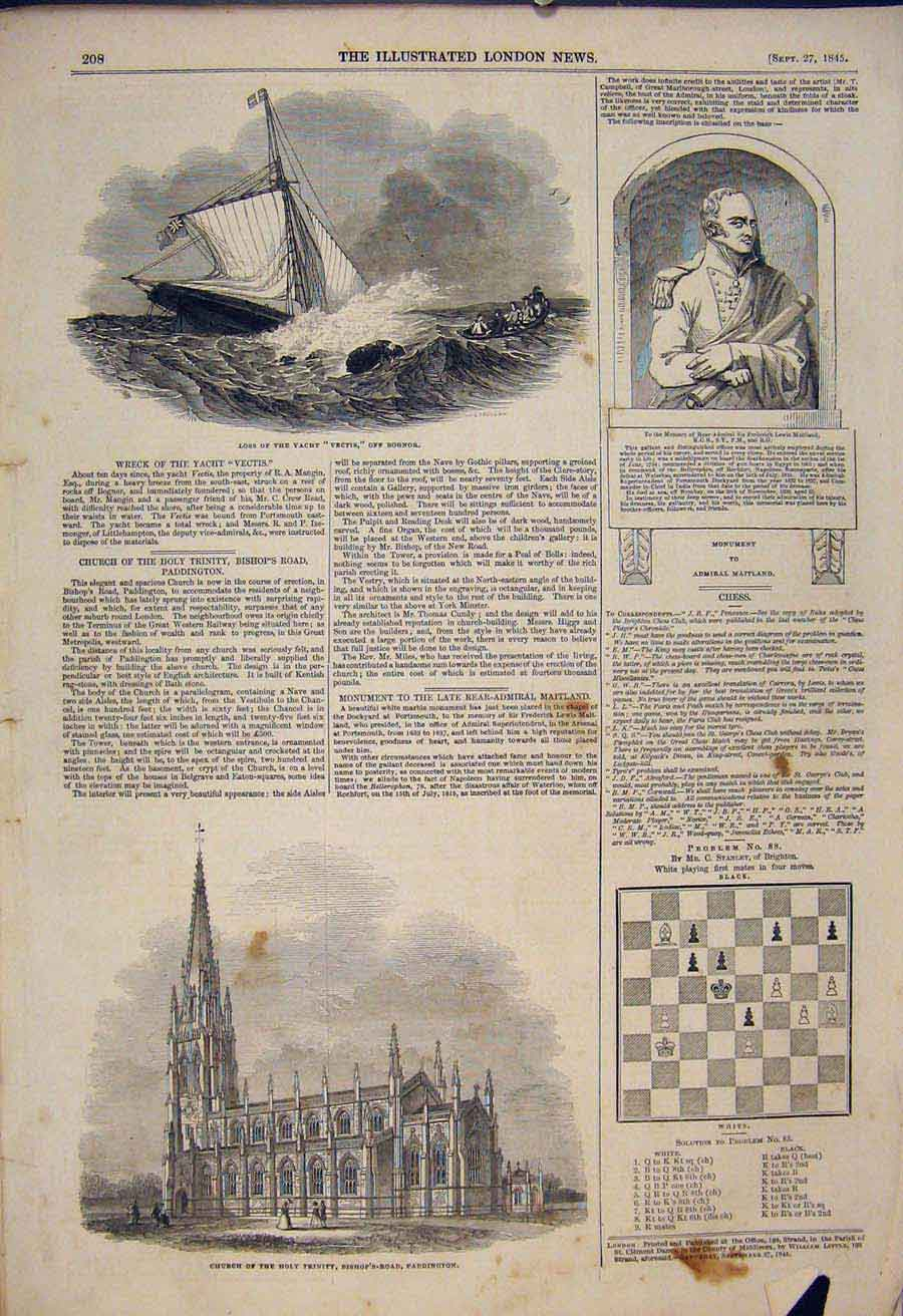 Print Yacht Vectis Bognor Maitland Church Paddington Chess 08Maa1 Old Original