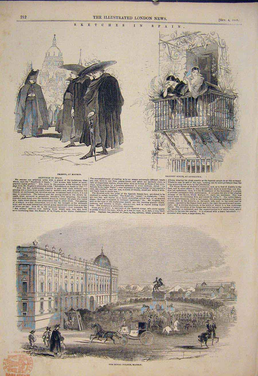 Print Skecthes Spain Madrid Priest Andalusia Palace Sketch 12Maa1 Old Original