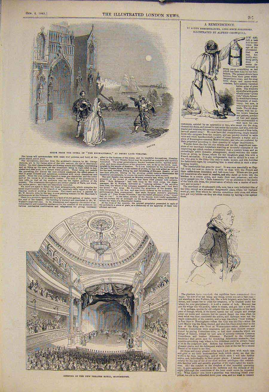 Print Opera Drury Lane Theatre Manchester Crowquill Sketch 17Maa1 Old Original