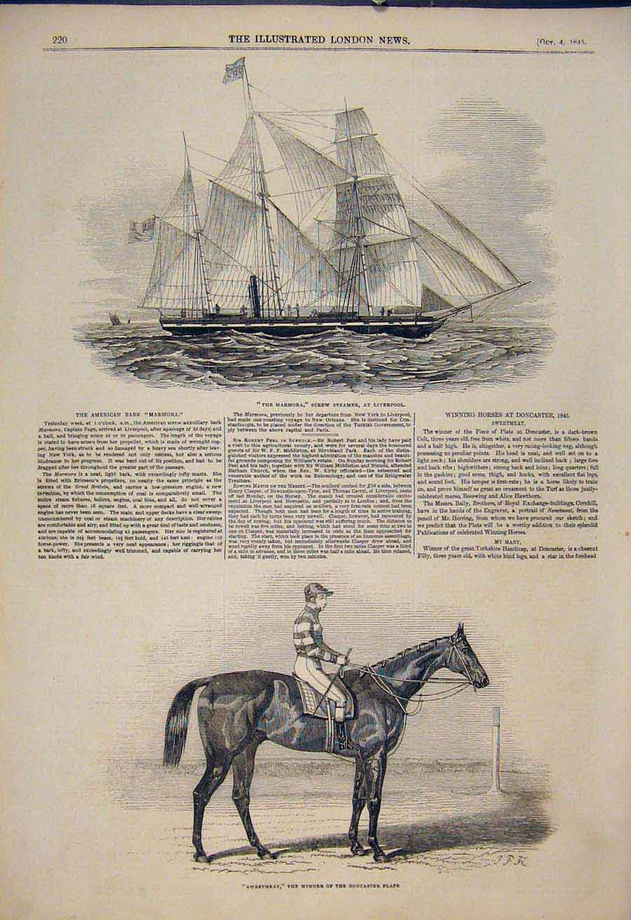 Print Marmora Steamer Liverpool Sweetmeat Race Horse 1845 20Maa1 Old Original