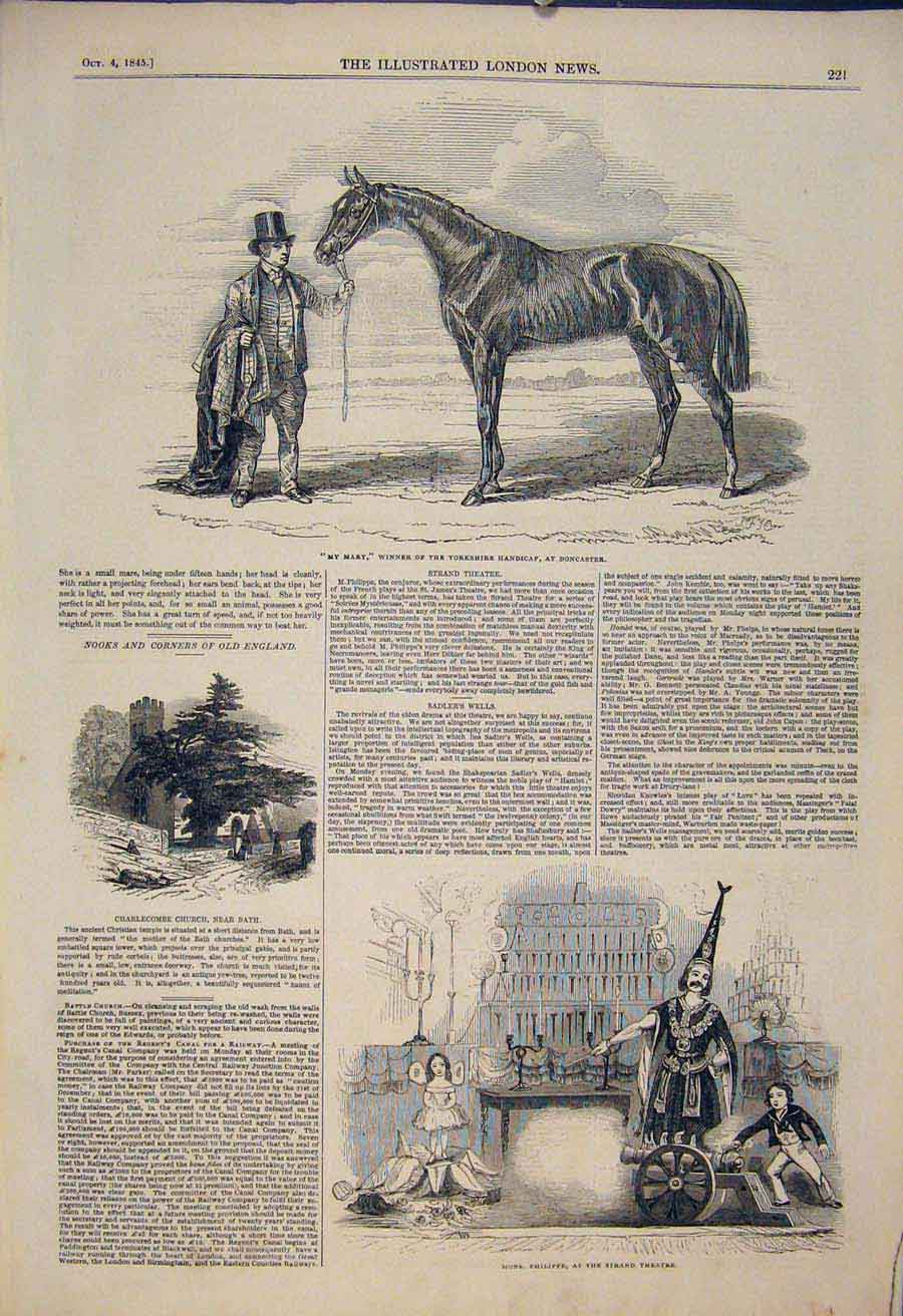 Print My Mary Race Horse Doncaster Charlecombe Church Bath 21Maa1 Old Original