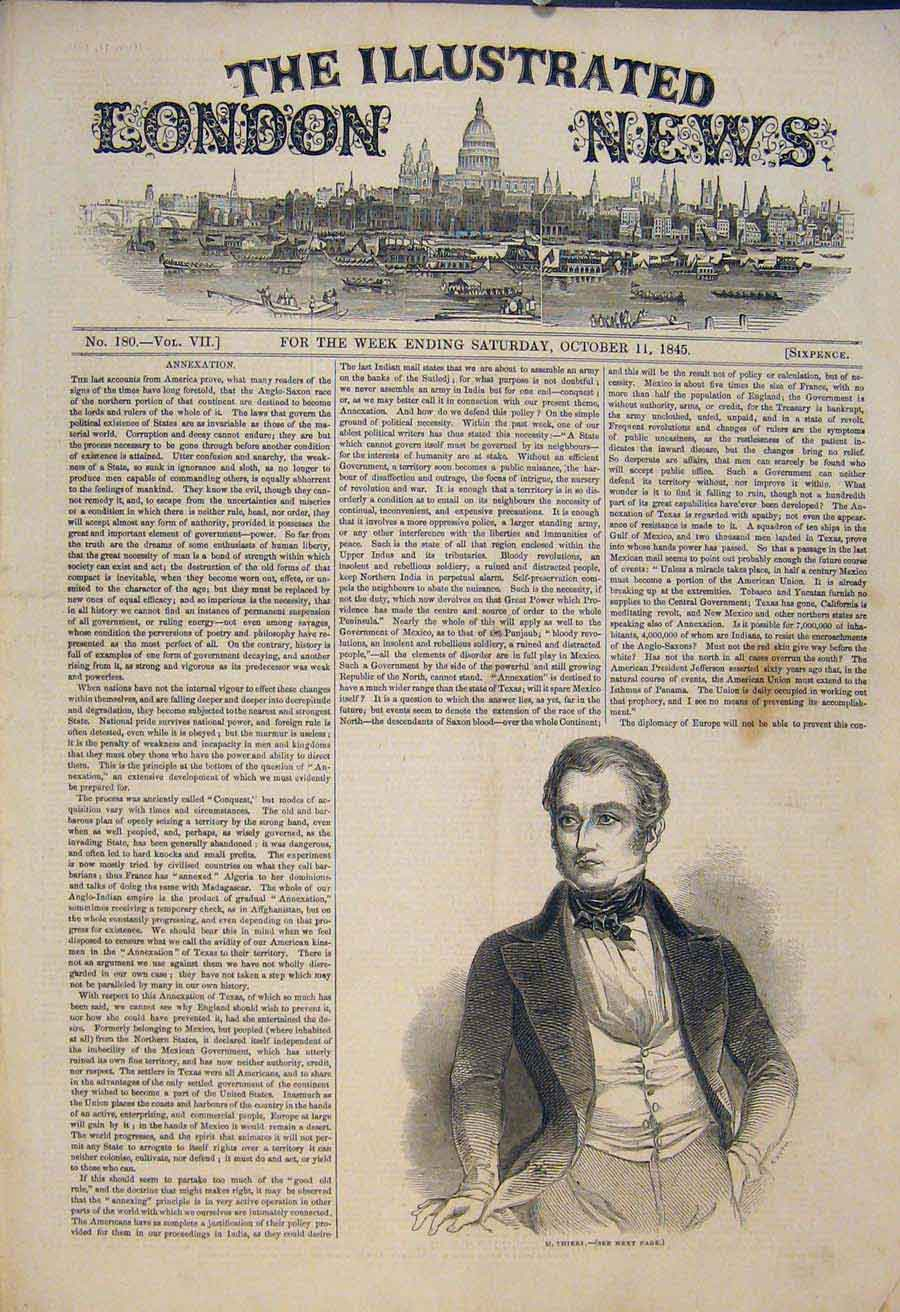 Print Portrait Theirs London 1845 26Maa1 Old Original