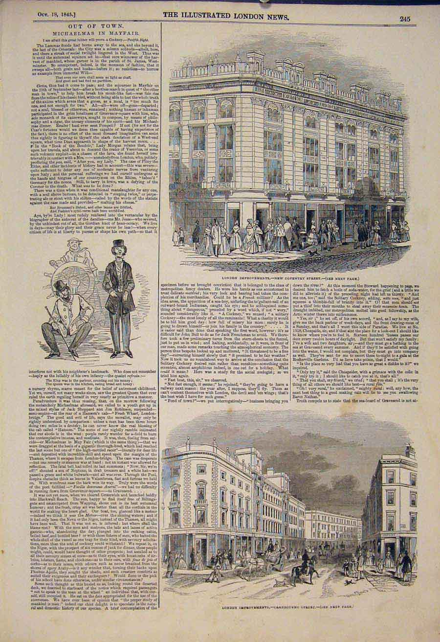 Print Coventry Street London Cranbourne Mayfair 1845 45Maa1 Old Original