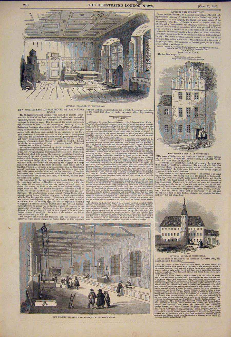 Print Luther Wittenberg Warehouse St Katherine'S Docks 1845 60Maa1 Old Original