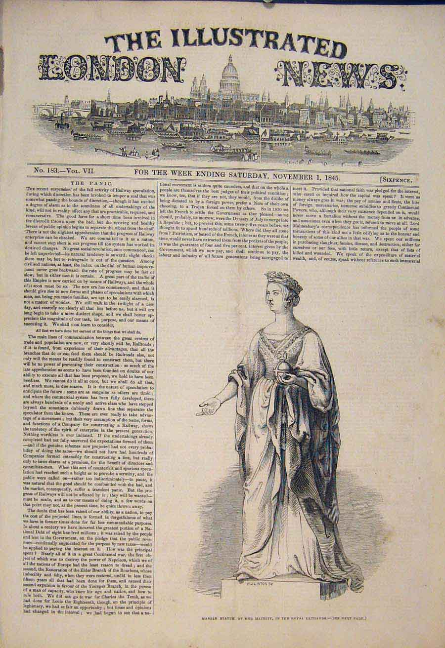 Print Marble Statue Her Majesty Queen Royal Exchange 1845 74Maa1 Old Original