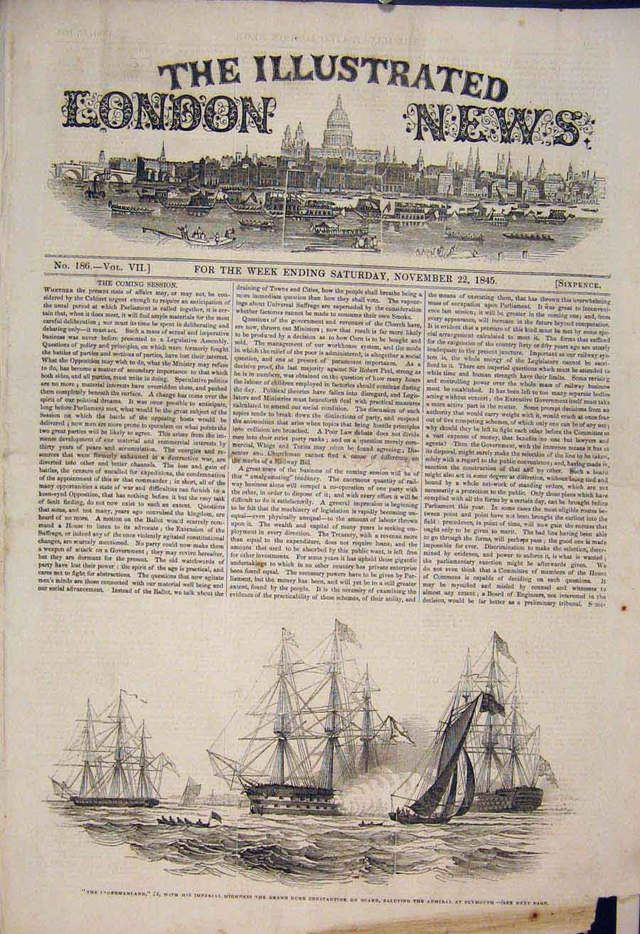 Print Ingermanland Duke Constantine Plymouth Ship Boat 1845 22Maa1 Old Original