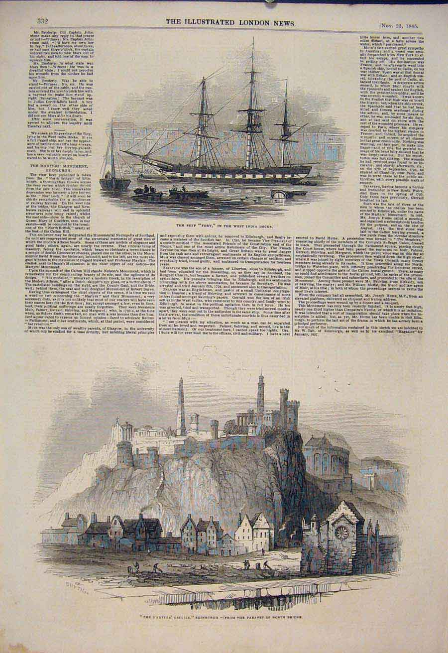 Print Ship Tory West India Docks Martyrs Obelisk Edinburgh 32Maa1 Old Original