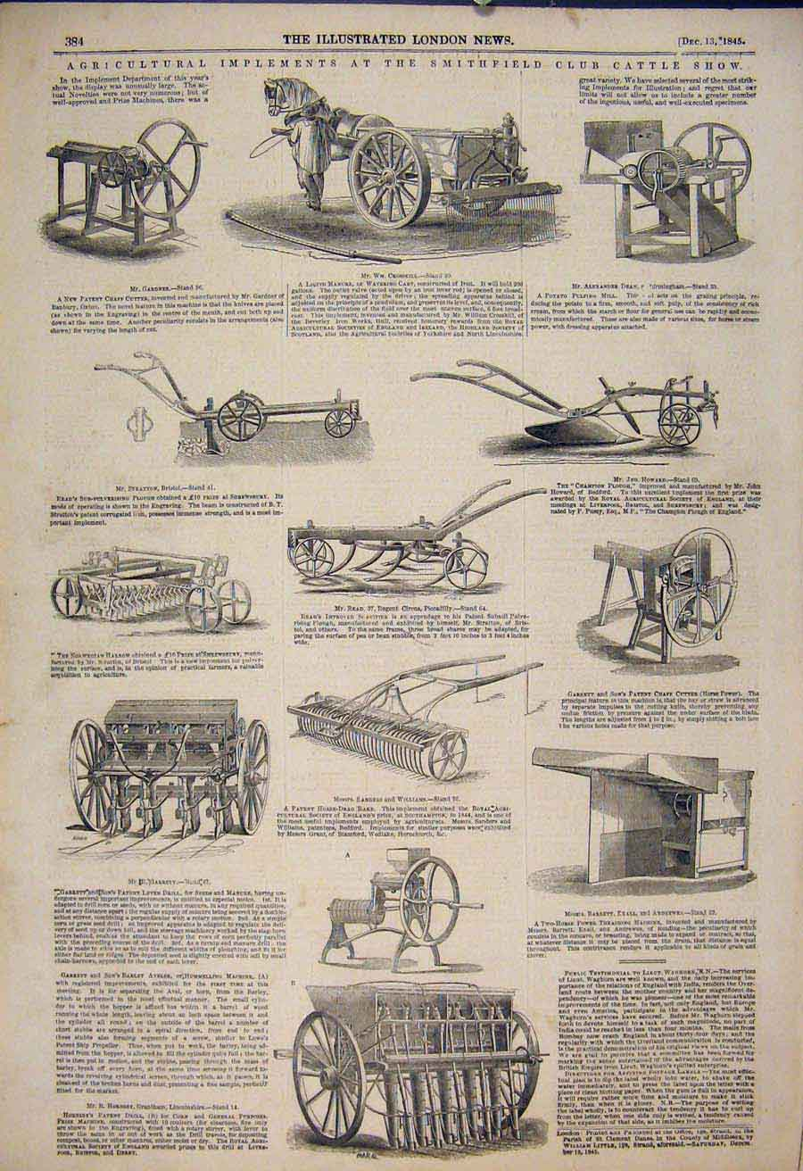 Print Agricultural Implements Smithfield Club Cattle Show 84Maa1 Old Original