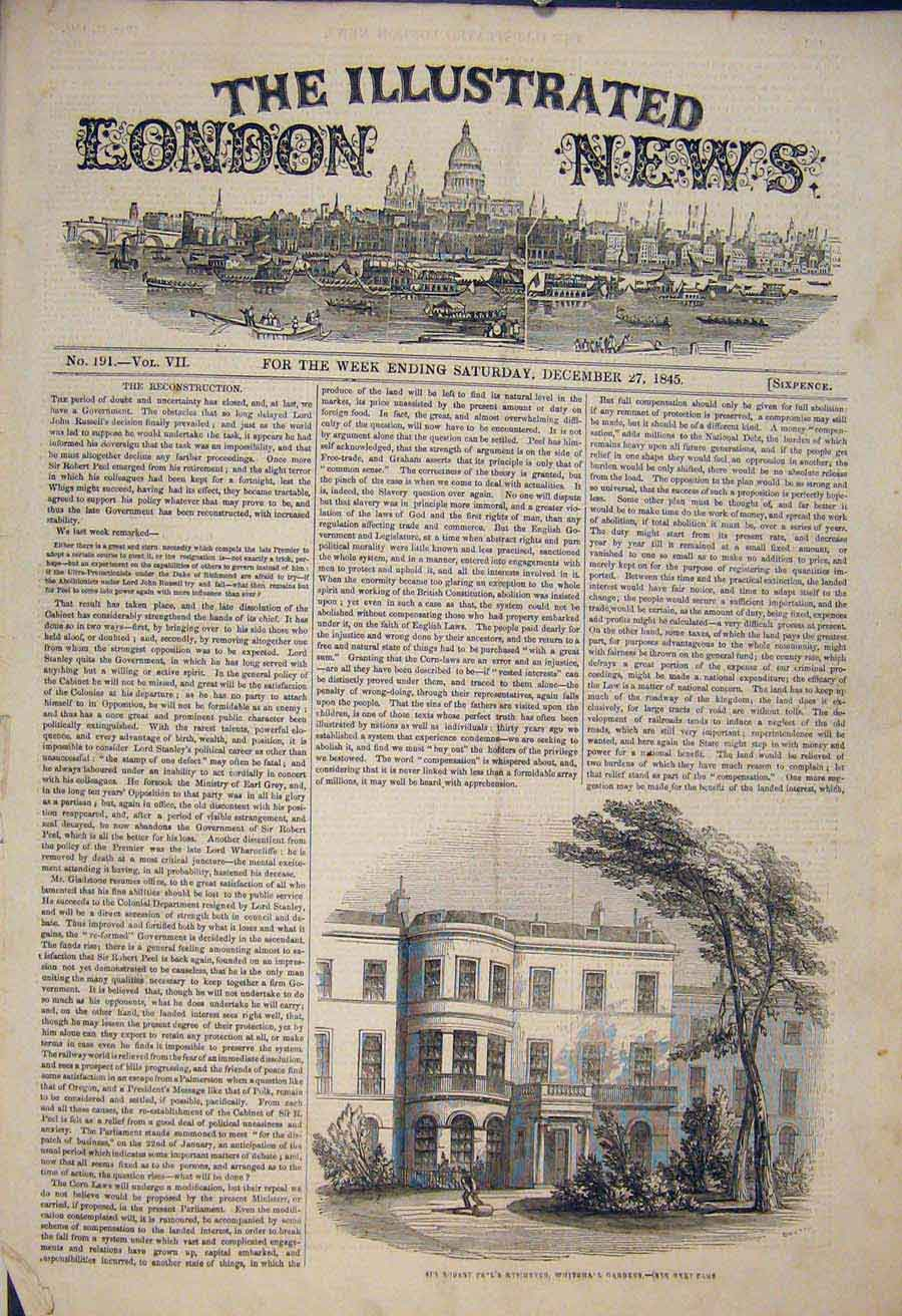 Print Robert Peel Residence Whitehall Gardens London 1845 02Maa1 Old Original