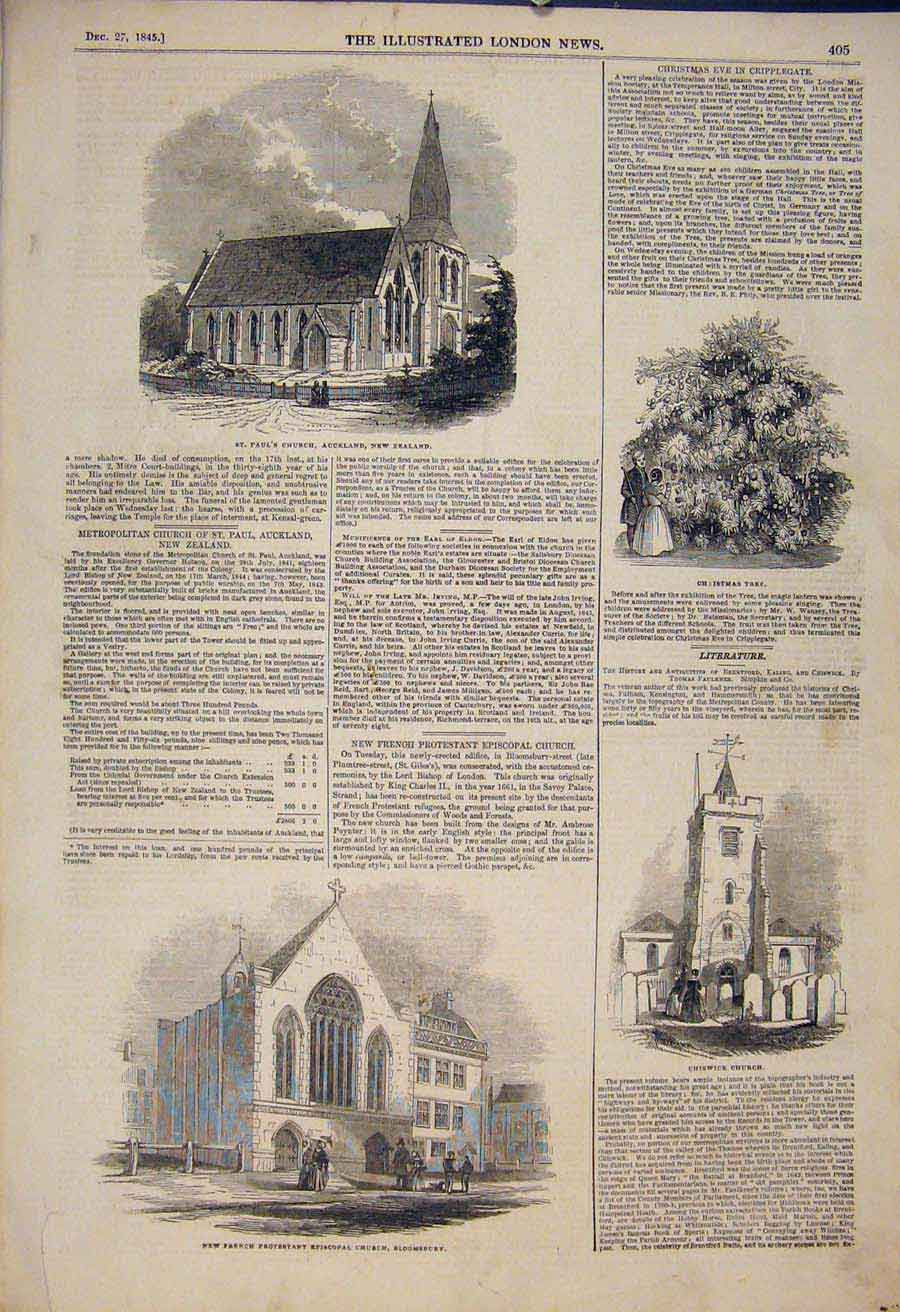 Print Church Auckland Bloomsbury Chiswick Christmas Tree 1845 05Maa1 Old Original