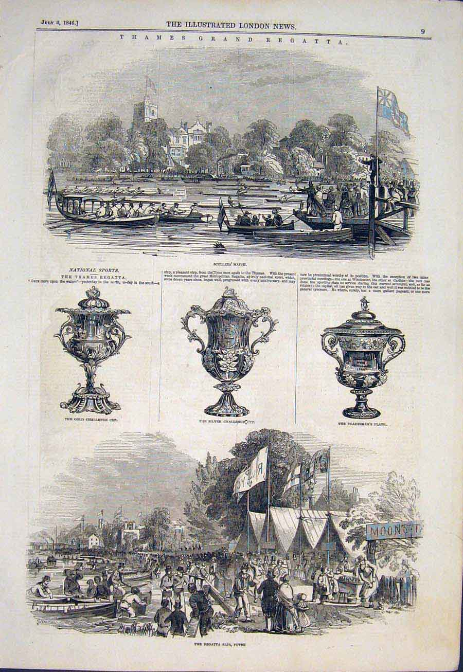Print Thames Ragatta London Scullers Fair Putney 1846 09Maa1 Old Original