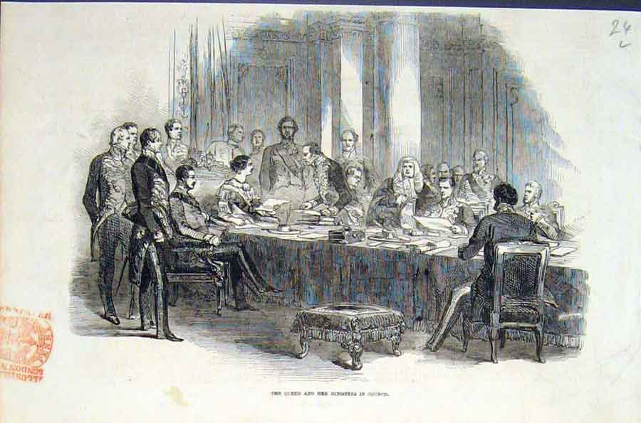 Print Queen Ministers Council London Buckingham Palace 1846 24Lmaa1 Old Original