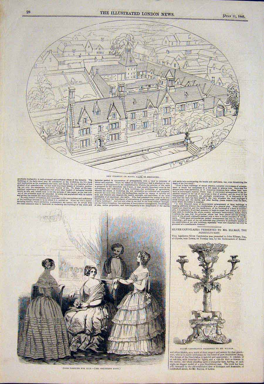 Print Berkshire Farm Model Paris Fashion Ellmen Candelabra 28Maa1 Old Original