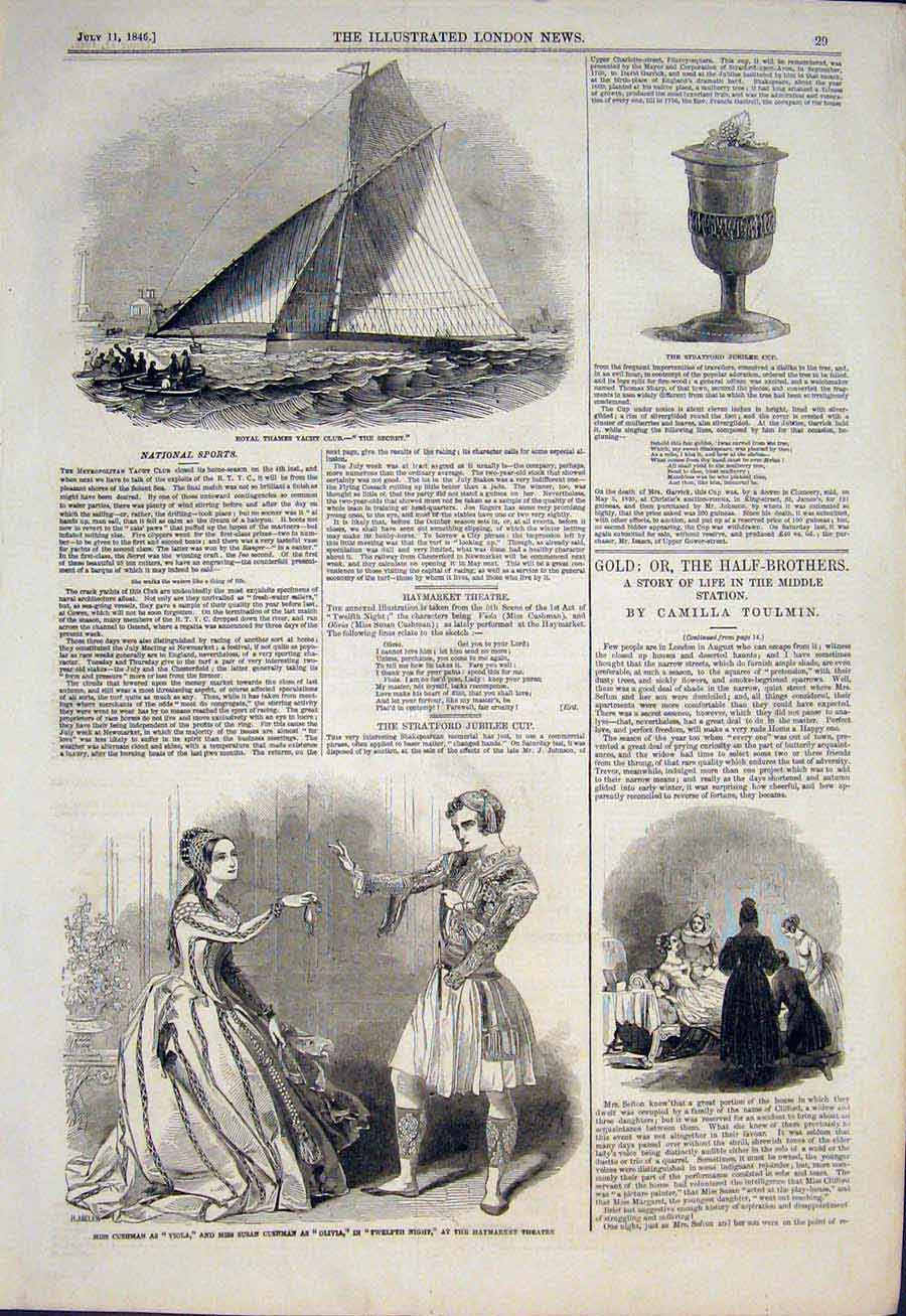 Print Thames Yacht Club Secrete Haymarket Theatre London 1846 29Maa1 Old Original