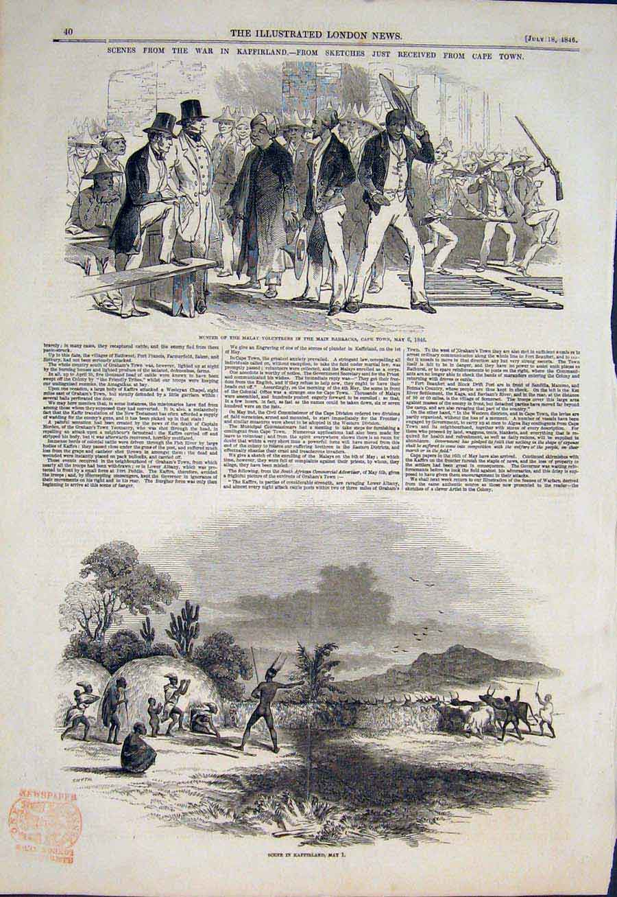 Print War Kaffir Africa Sketches Cape Town Malay Volunteers 40Maa1 Old Original