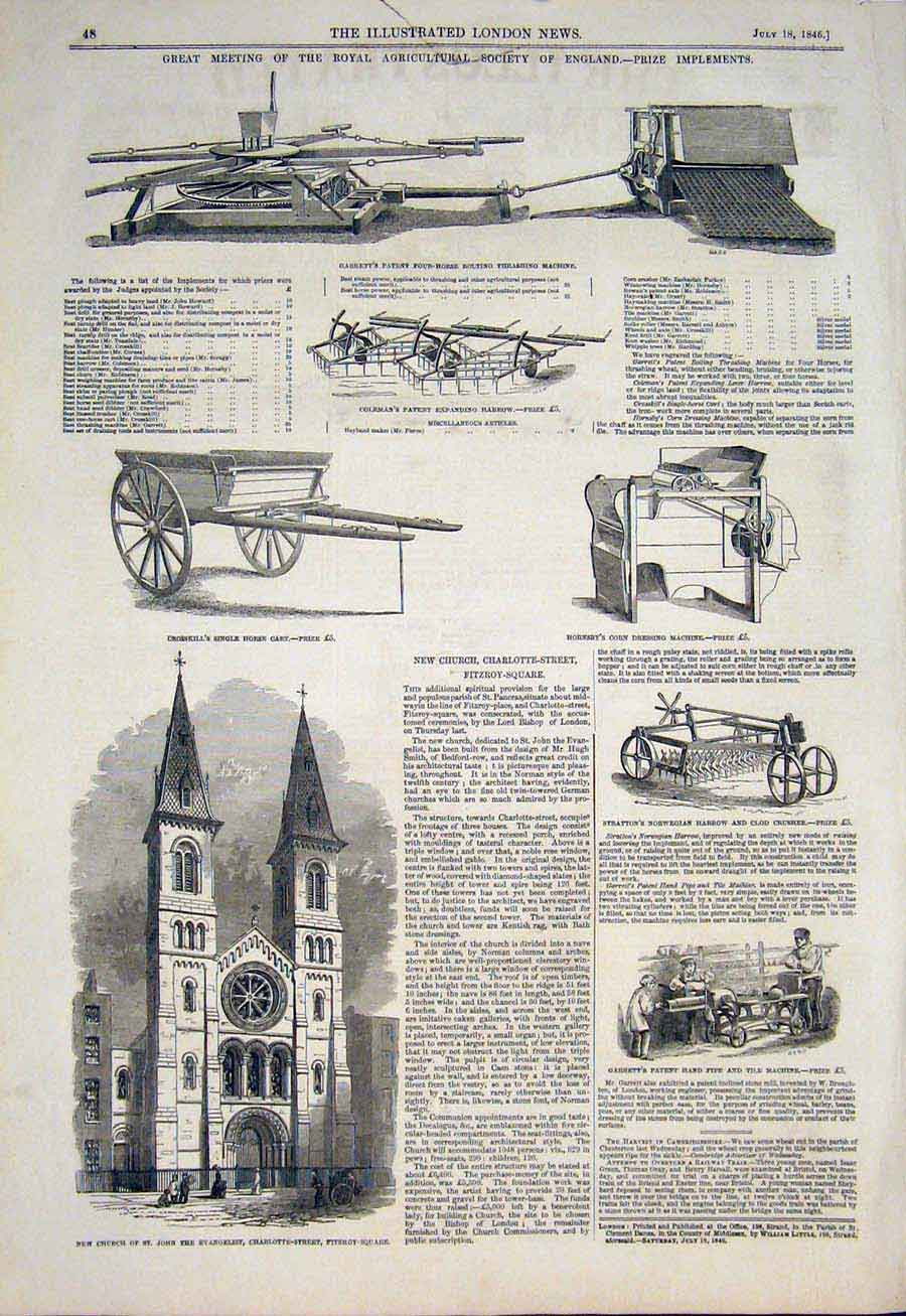 Print Agricultural Implements Machine Fitzroy Church 1846 48Maa1 Old Original