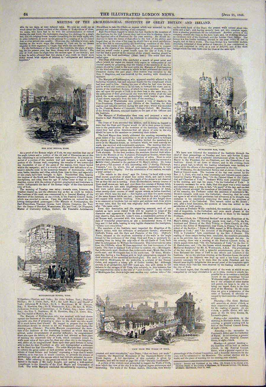Print Archeological Institute Ouse Bridge Micklegate York 64Maa1 Old Original