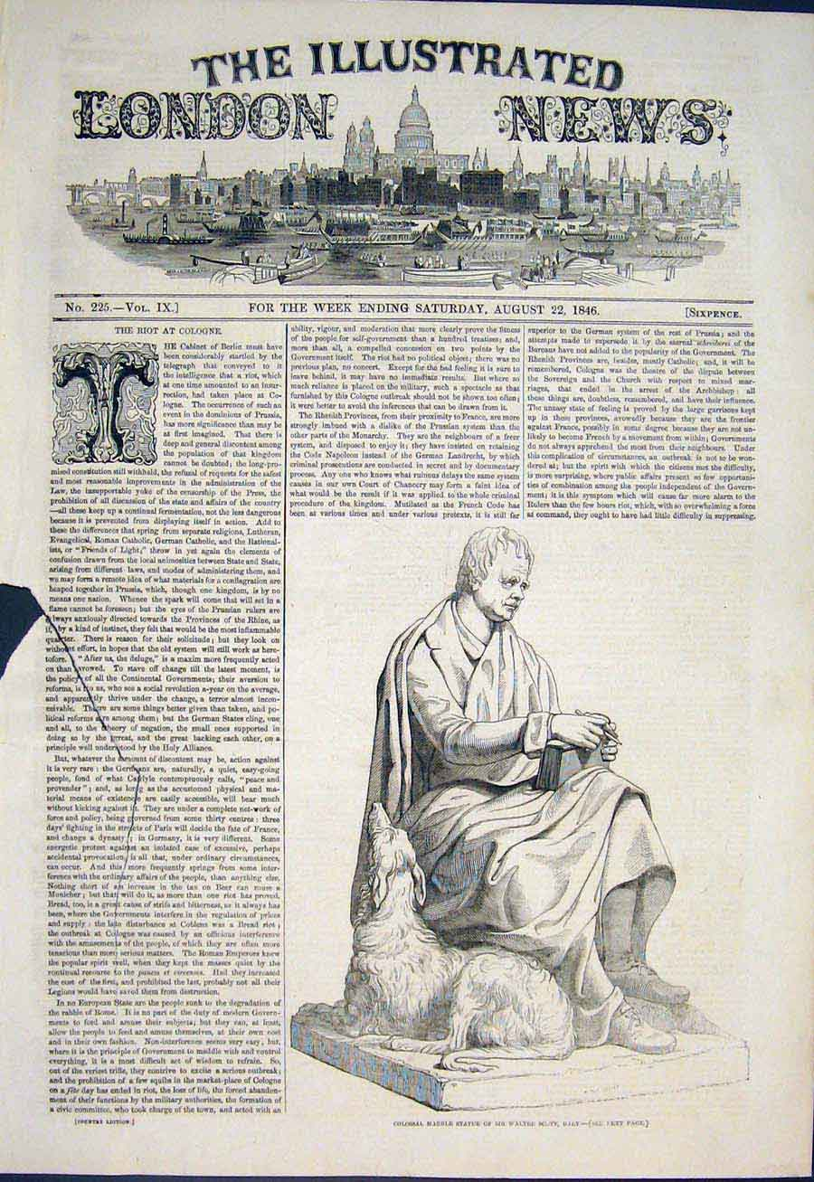 Print Marbel Statue Sir Walter Scott Edinburgh Scotland Nr 14Maa1 Old Original