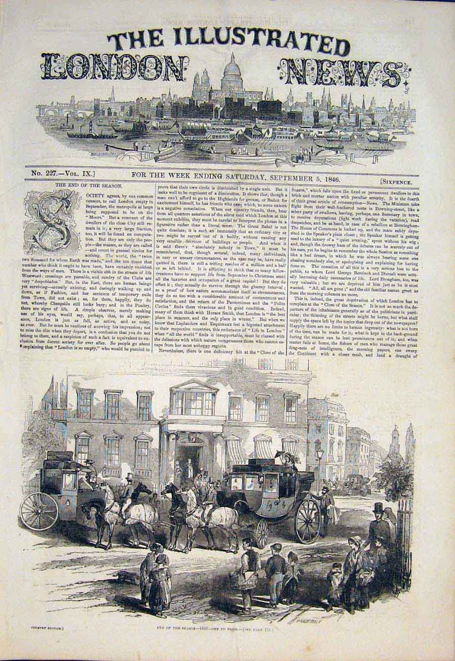 Print Off To Paris Season Horses Carriage 1846 46Maa1 Old Original