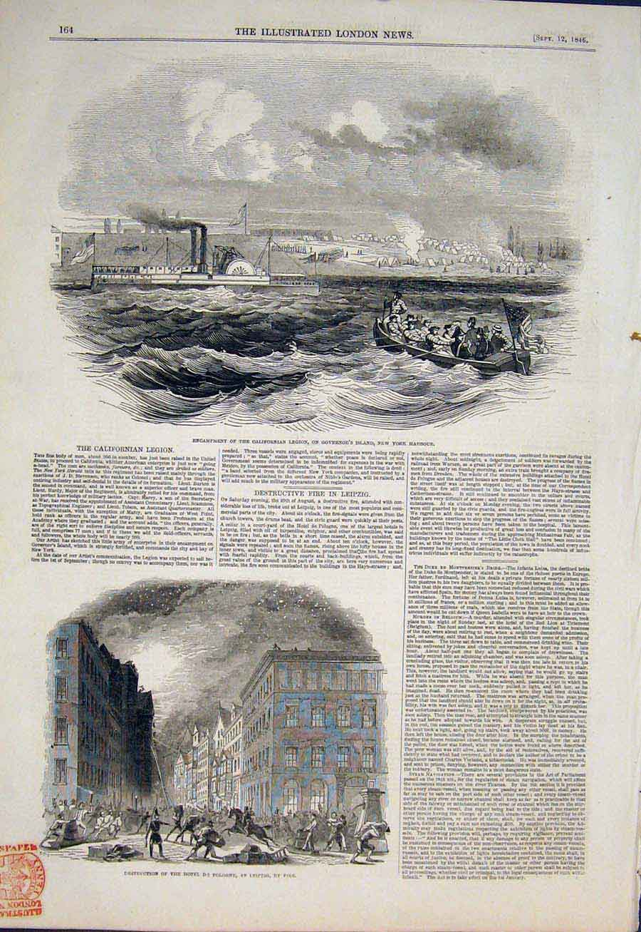 Print Californian Legion New York Harbour America Leipzig 64Maa1 Old Original