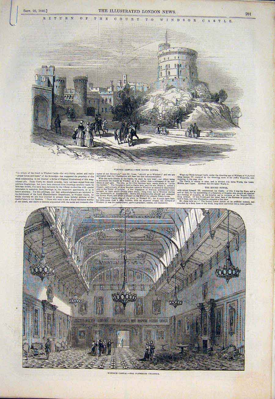 Print Windsor Castle Round Tower Ball Room Waterloo 1846 01Amaa1 Old Original