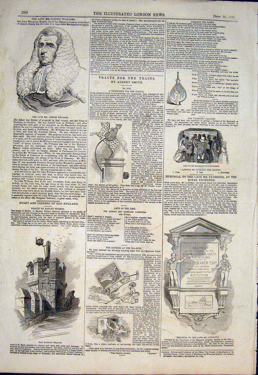 Print Williams Hadley Beacon Memorial Trains Train 1846 08Maa1 Old Original