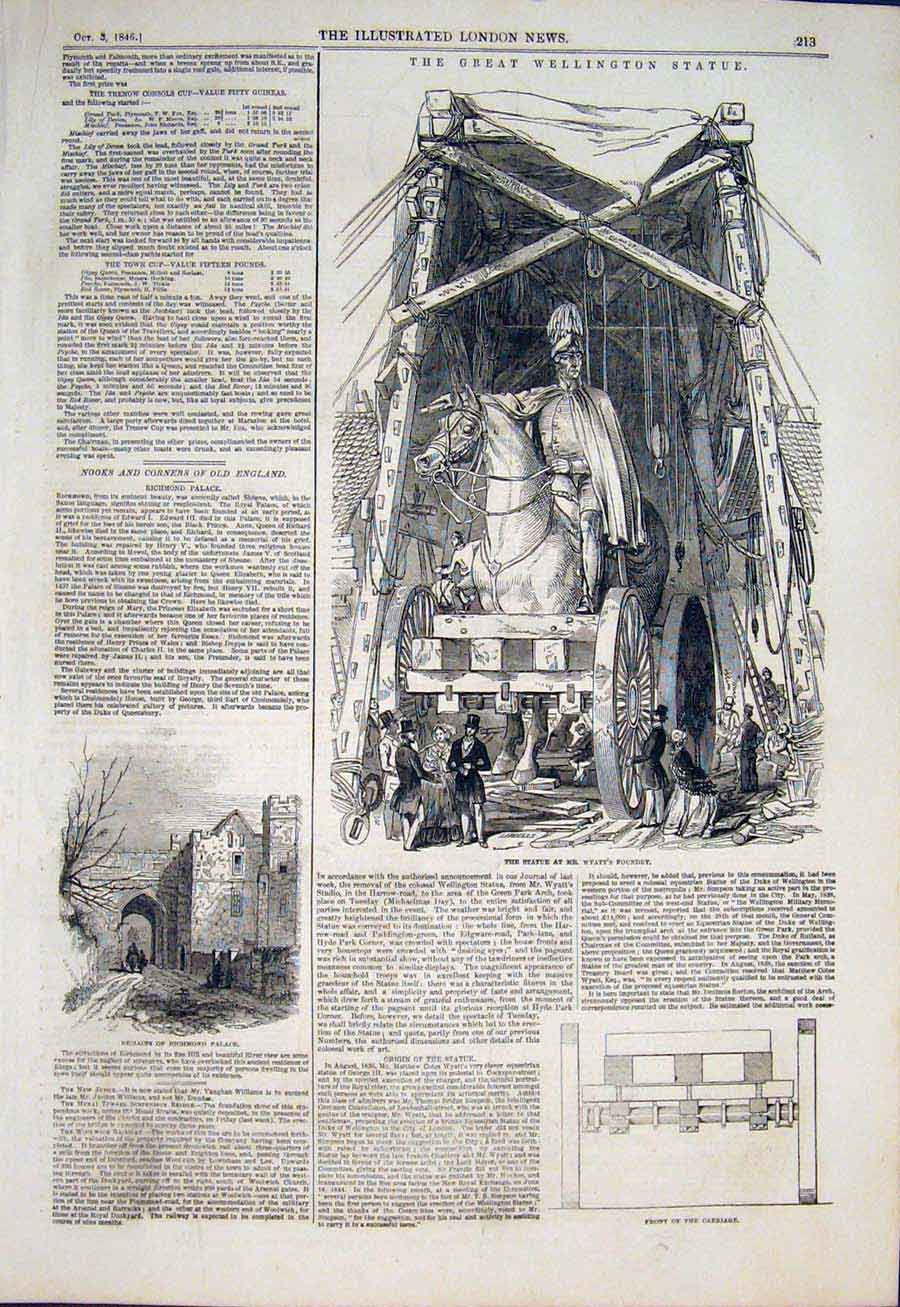 Print Statue Wellington Wyatt Foundry Richmond Place 1846 13Maa1 Old Original