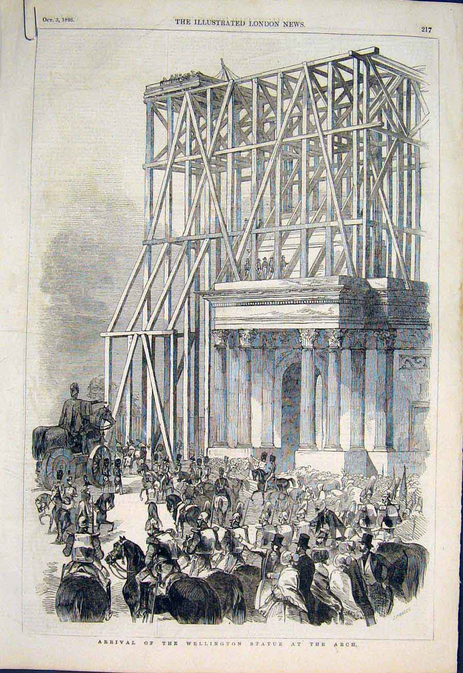 Print Wellington Statue Arch Green Park London Chess 1846 17Amaa1 Old Original