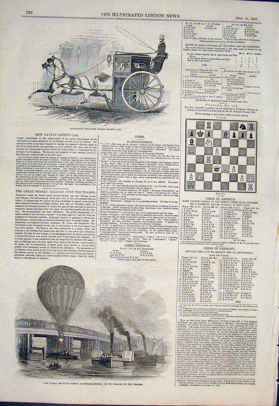 Print Balloon Nassau Thames Reynolds Cab Chess Problem 1846 40Maa1 Old Original