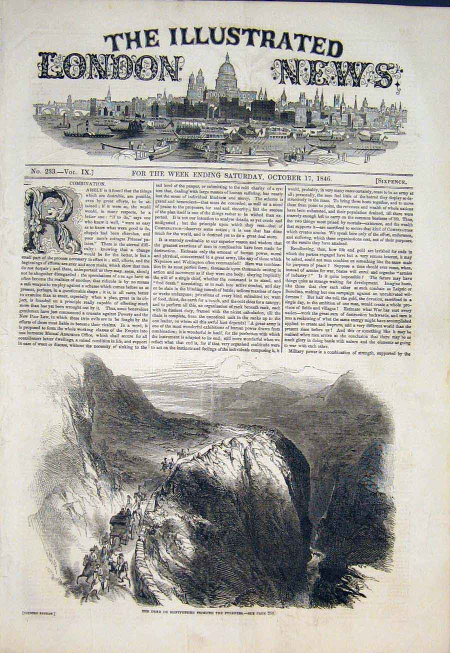 Print Pyrenees Mountains Duke Montpensier 1846 42Maa1 Old Original
