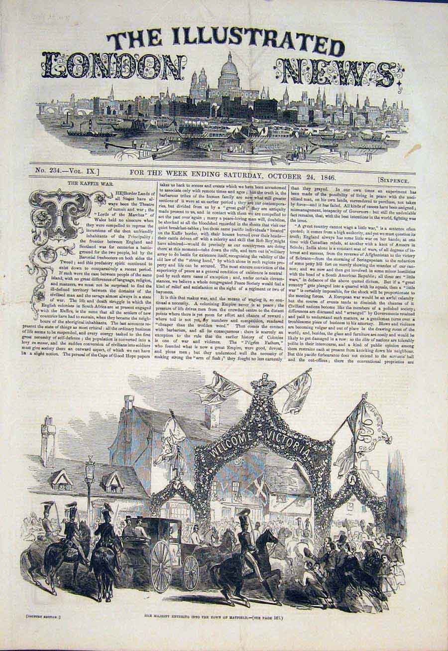 Print Hatfield Queen Victoria Visit Royal Town 1846 58Maa1 Old Original