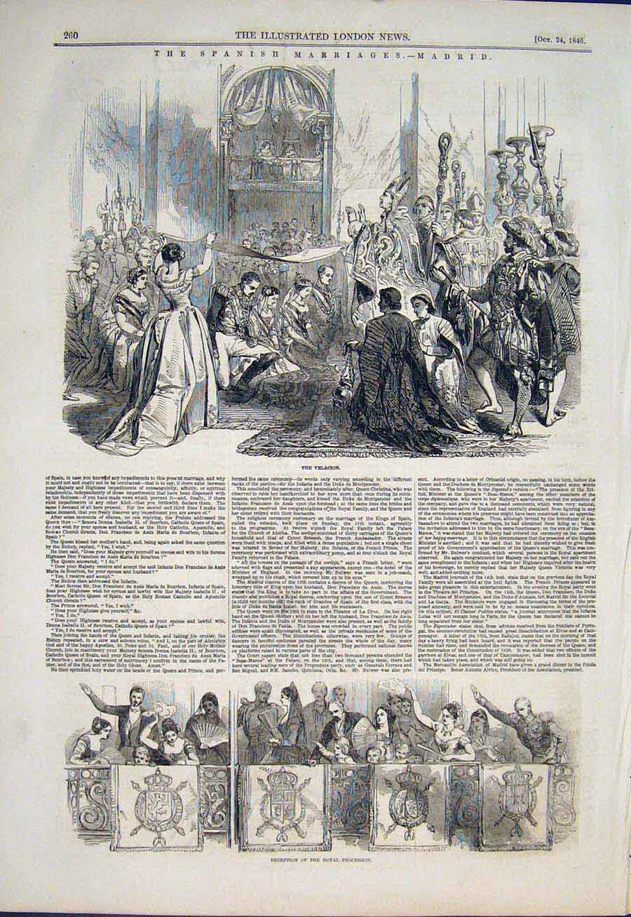 Print Madrid Spain Marriages Spanish Velacion Procession 1846 60Maa1 Old Original