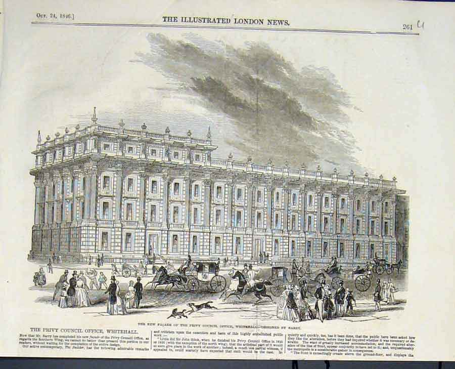 Print Privy Council Office Whitehall London Barry 1846 61Umaa1 Old Original