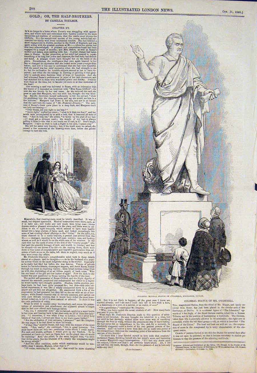 Print Marble Statue O'Connell Exchange Dublin Ireland 1846 88Maa1 Old Original