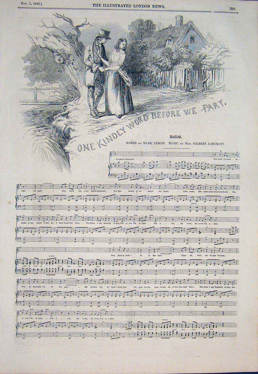 Print Music Score Ballad Beckett Lemon Kindly Word 1846 97Maa1 Old Original
