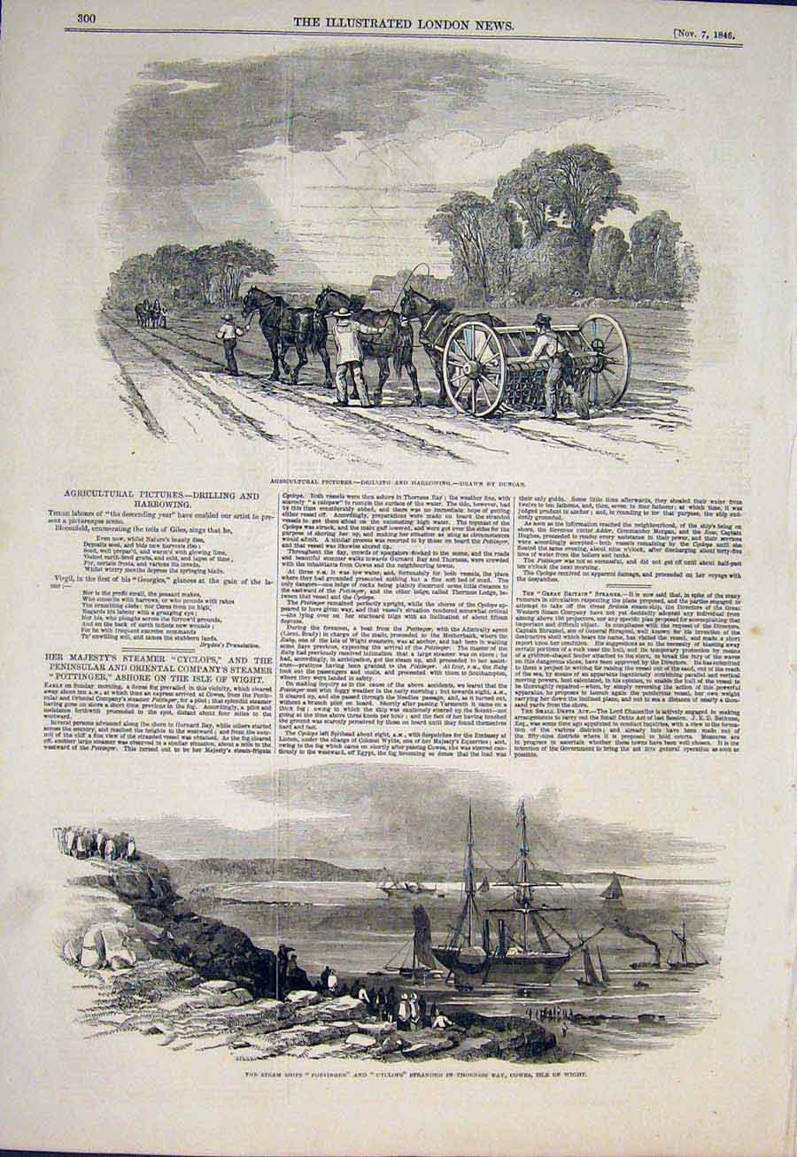 Print Drilling Harrowing Farm Duncan Pottinger Cyclops Cowes 00Maa1 Old Original