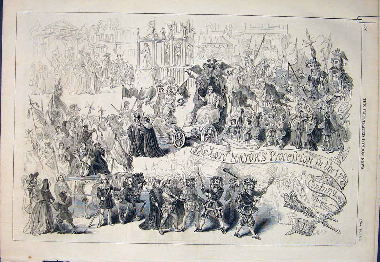 Print Lord Mayor'S Procession Carroll Westminster Seventeenth 08Amaa1 Old Original