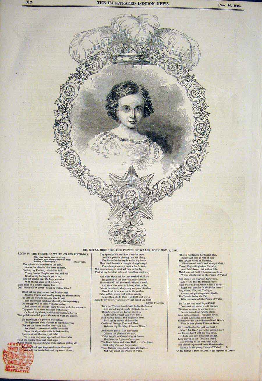 Print Portrait Royal Prince Wales Fine Art 1846 Child 12Maa1 Old Original