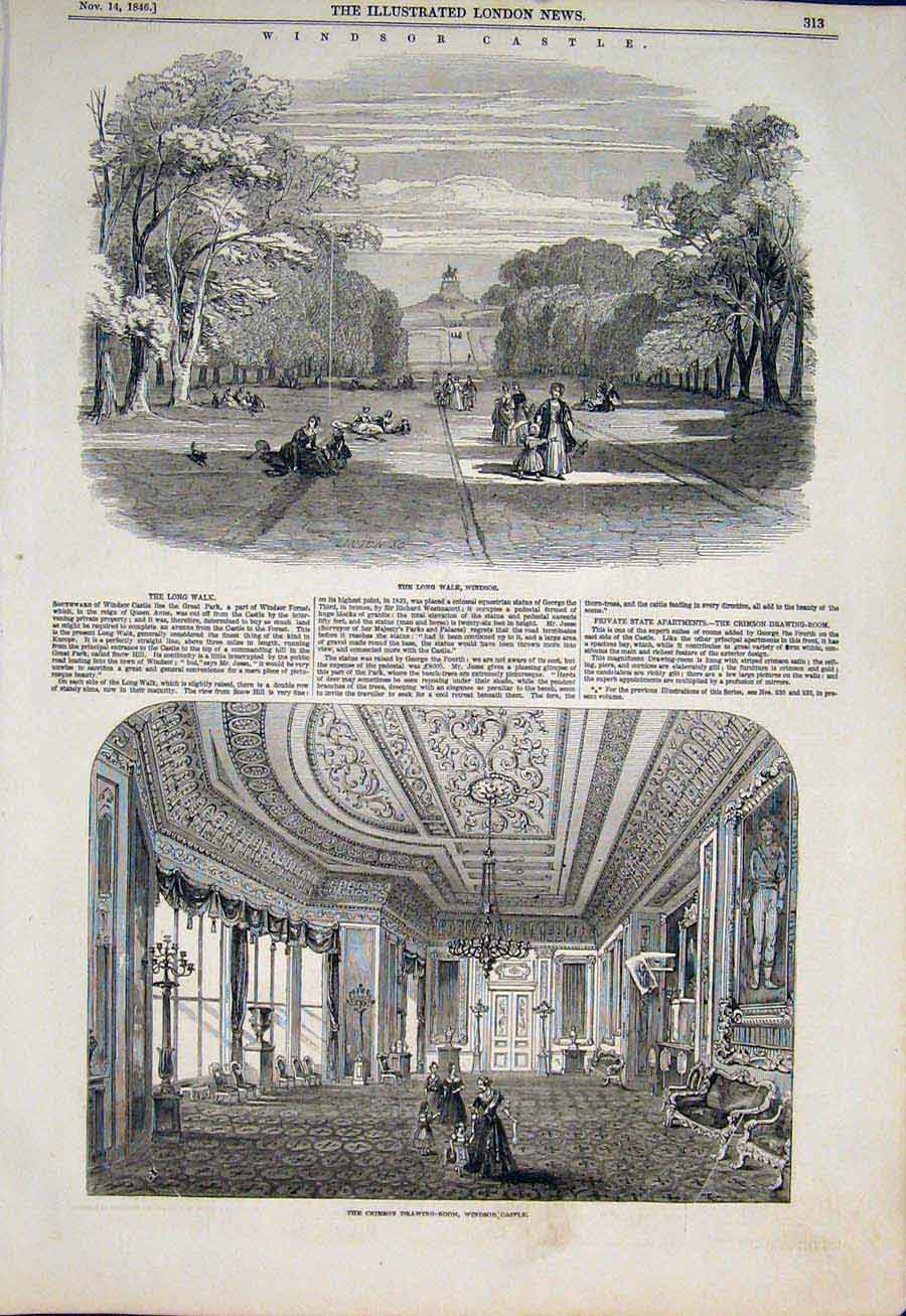 Print Windsor Csatle Crimson Drawing Room Walk Garden 1846 13Maa1 Old Original