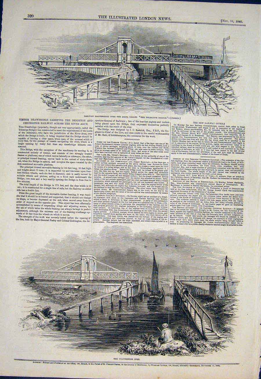 Print Railway Drawbridge Arun River Telescope Bridge 1846 20Maa1 Old Original