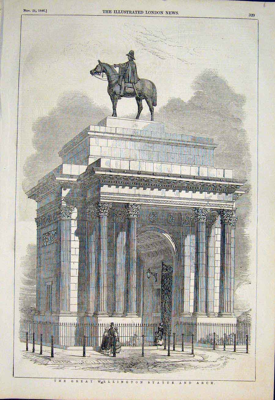 Print Wellingtons Staue Arch Green Park London 1846 29Maa1 Old Original