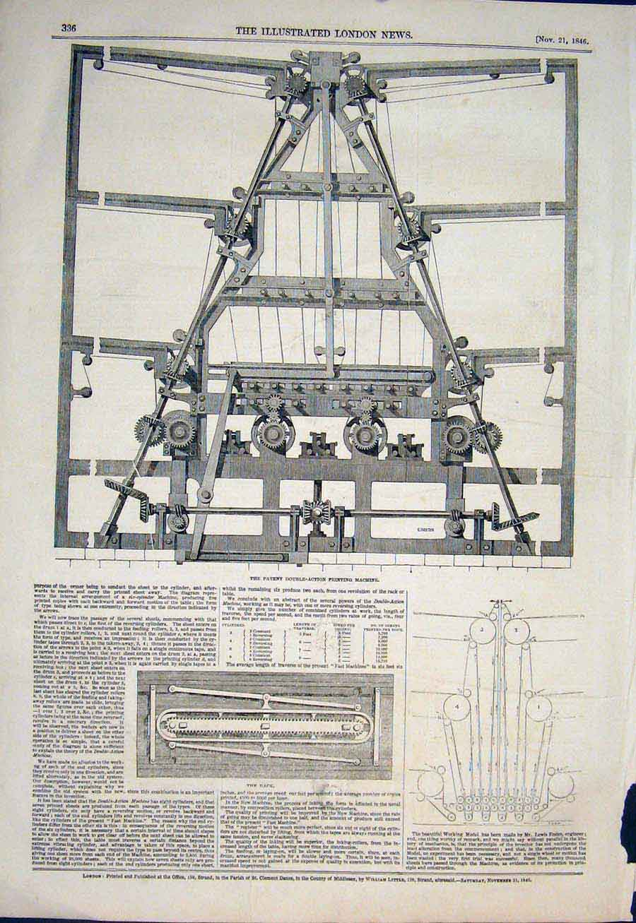 Print Ptent Double Action Ing Machine Rack 1846 36Maa1 Old Original